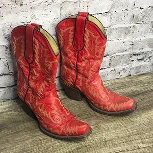 Corral western boots wms red mid calm 6.5m